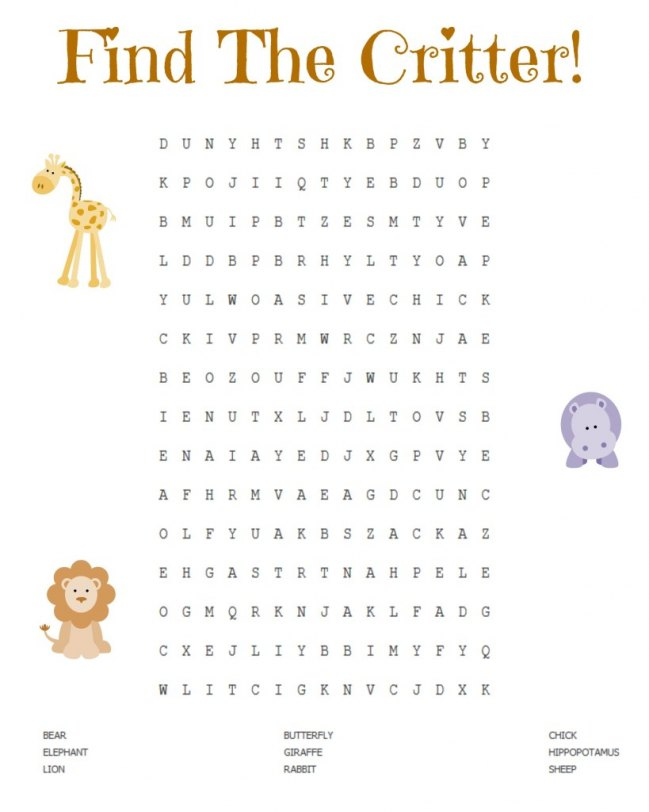 Adorable find the critter printable! JENerally Informed