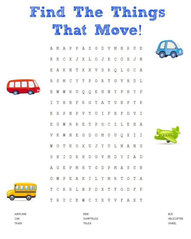 Adorable find the things that move printable! JENerallyInformed