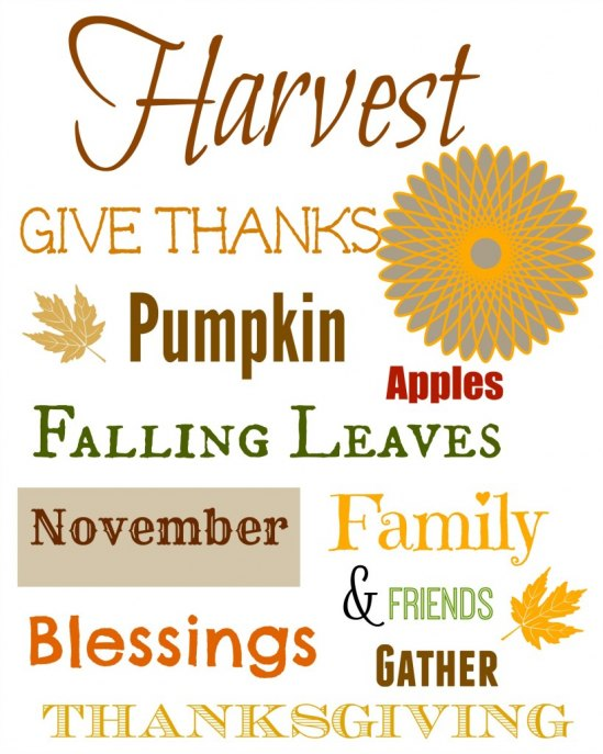 Thanksgiving Printable! Print this up and put it in a frame and make decorating a snap!