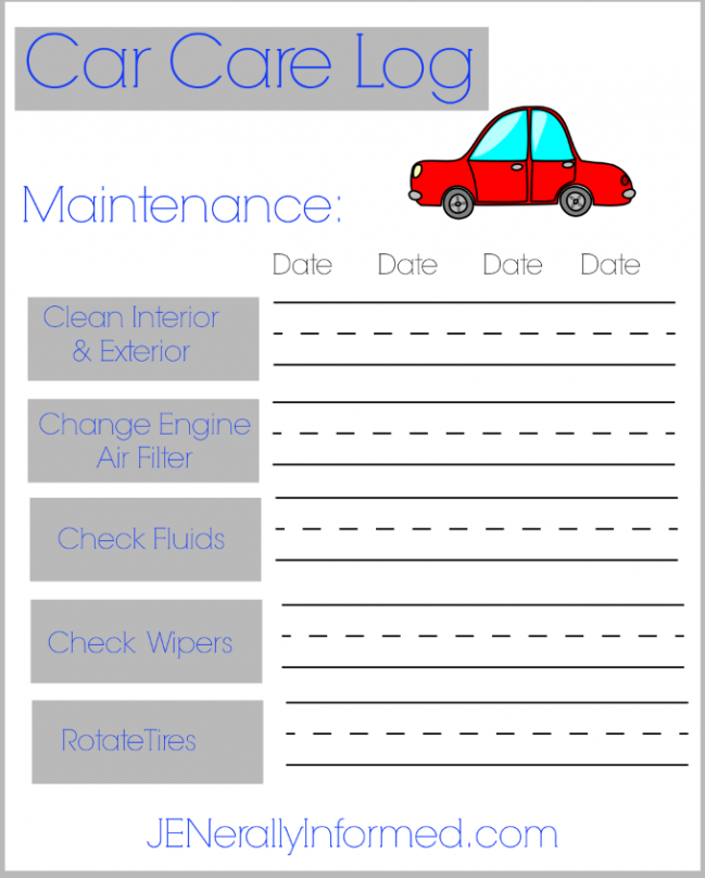 Keep track of your car maintenance with this cute printable!