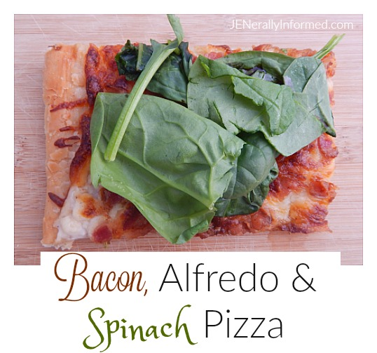 Check out this delicious recipe for bacon, alfredo, spinach and balsamic vinegar pizza.
