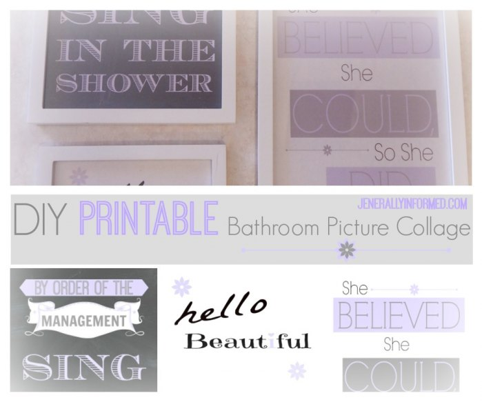 Check out this adorable #DIY #printable bathroom wall art collage