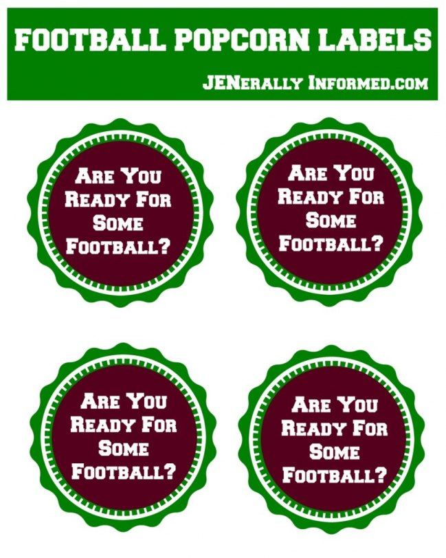 Printable football popcornn labels perfect your next party!