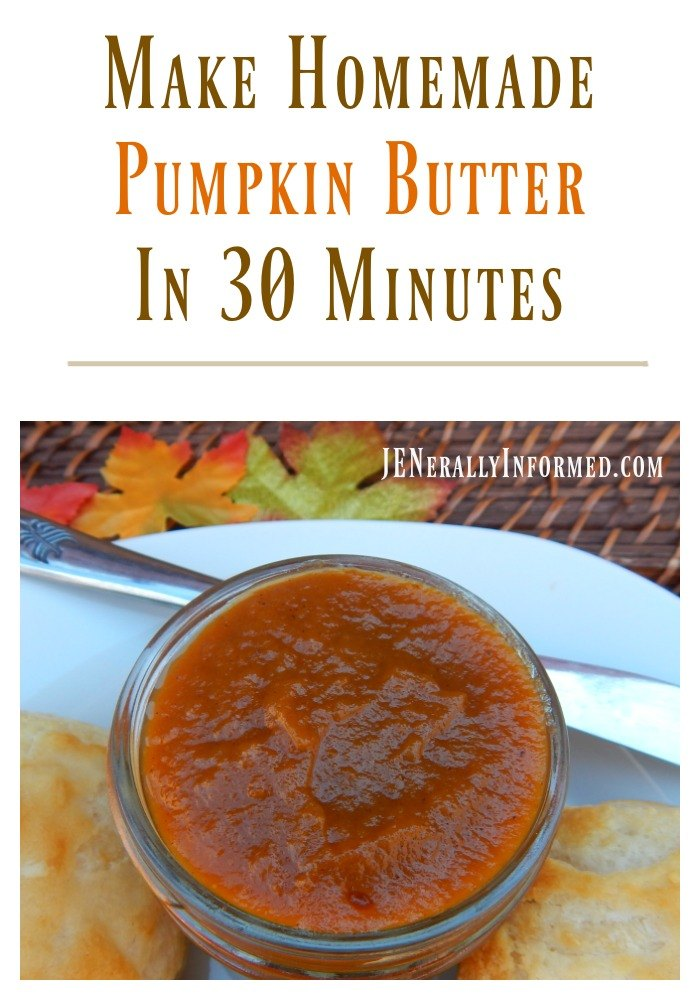 Whip up a batch of homemade pumpkin butter in ONLY 30 minutes!