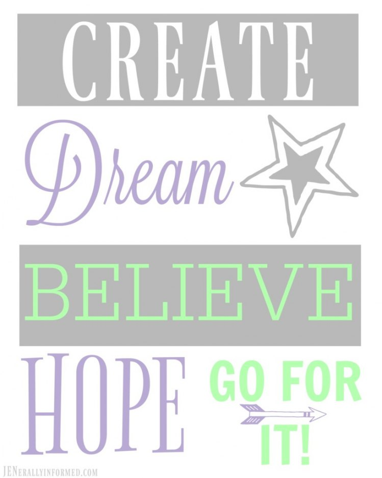 Never stop dreaming. Grab this printable now and share it with someone you love!