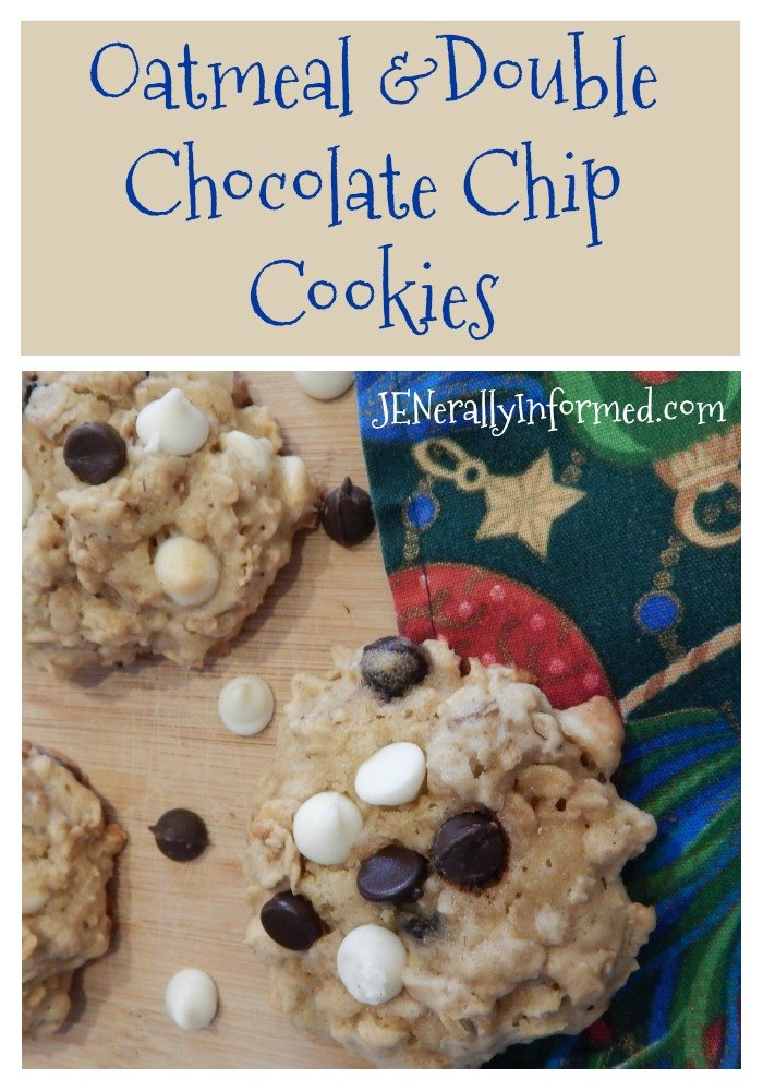 A delicious oatmeal cookie recipe with not one, but two kinds of chocolate chips!