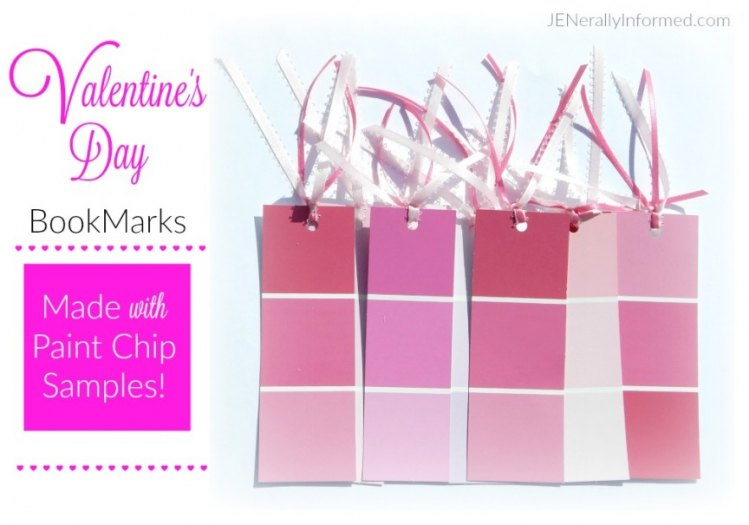 Learn how to make these super easy DIY paint chip bookmarks for your Valentine!