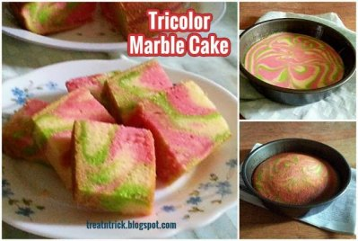Learn how to make this yummy Tricolor Marble Cake from Treat and Trick.