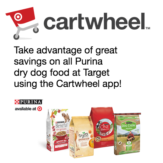 take advantage of great savings on all Purina dry dog food at Target using the Cratwheel app!