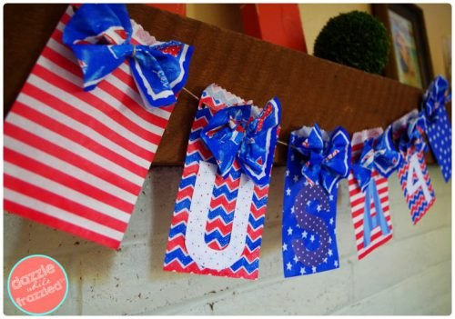 Learn how to make this adorable Patriotic Banner from Dazzle while Frazzled.
