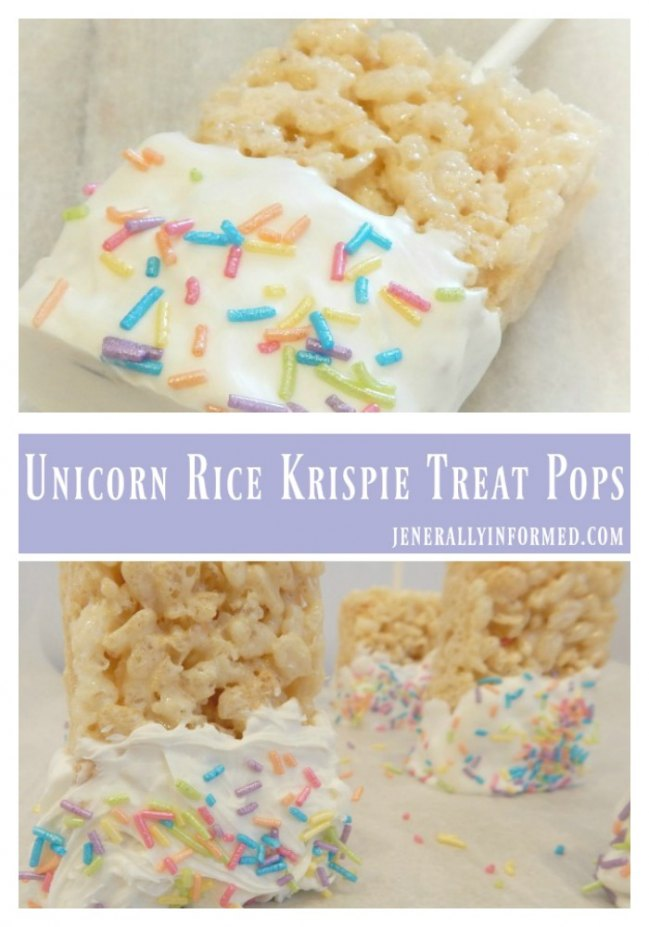 Unicorn Rice Krispie Treat Pops Jenerally Informed