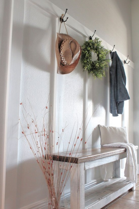 DIY Board and Batten for a Modern Farmhouse Mudroom from repurpose and upcycle.