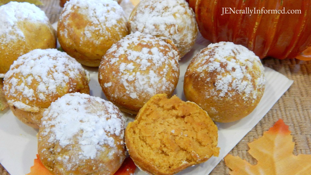 Powdered Sugar & Pumpkin Spice Baked Donut Holes