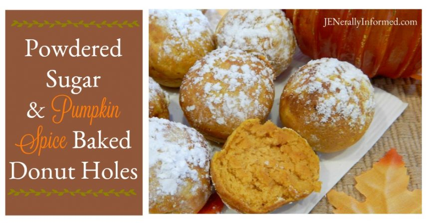 Enjoy the taste of fall! Powdered Sugar & Pumpkin Spice Baked Donut Holes.