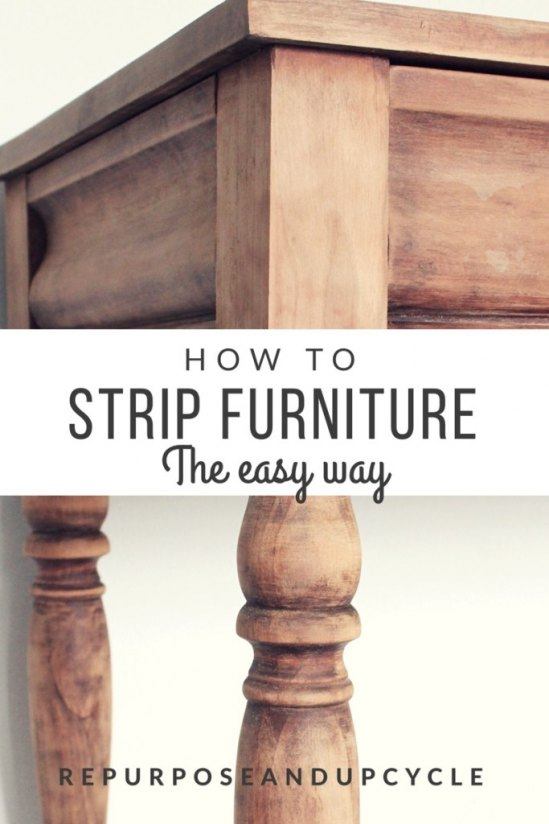 The Easy Way to Strip Furniture of Polyurethane, Paint, and Stain with Minimal Sanding from Repurpose and Upcycle.