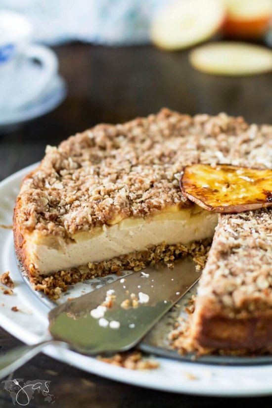 Bavarian Apple Oatmeal Streusel Cheesecake from All That Jas.