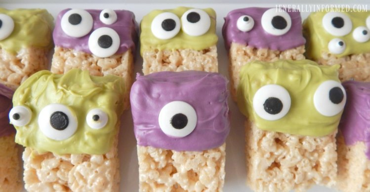 Halloween at Home! Whip up a batch of these adorable Monster Rice Krispie Treats. Perfect for all your ghouls and goblins!