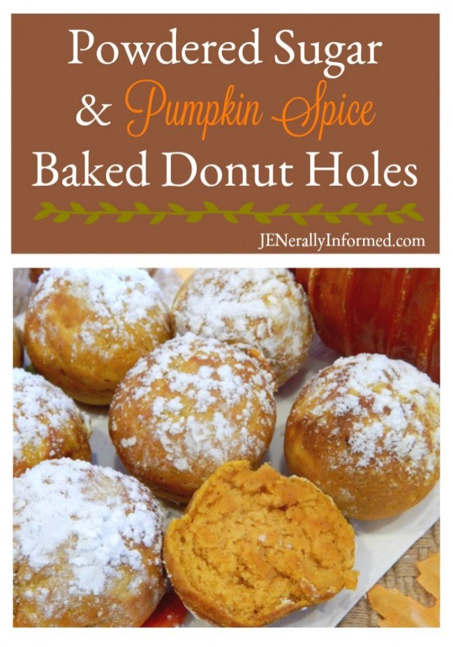 Enjoy the taste of Fall with Powdered Sugar & Pumpkin Spice Baked Donut Holes!