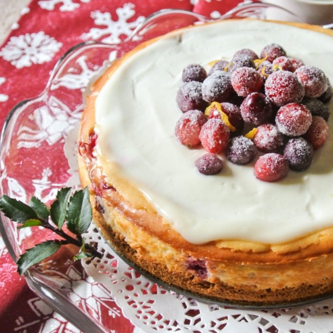 Cranberry Lemon Cheesecake From No Plate Like Home.