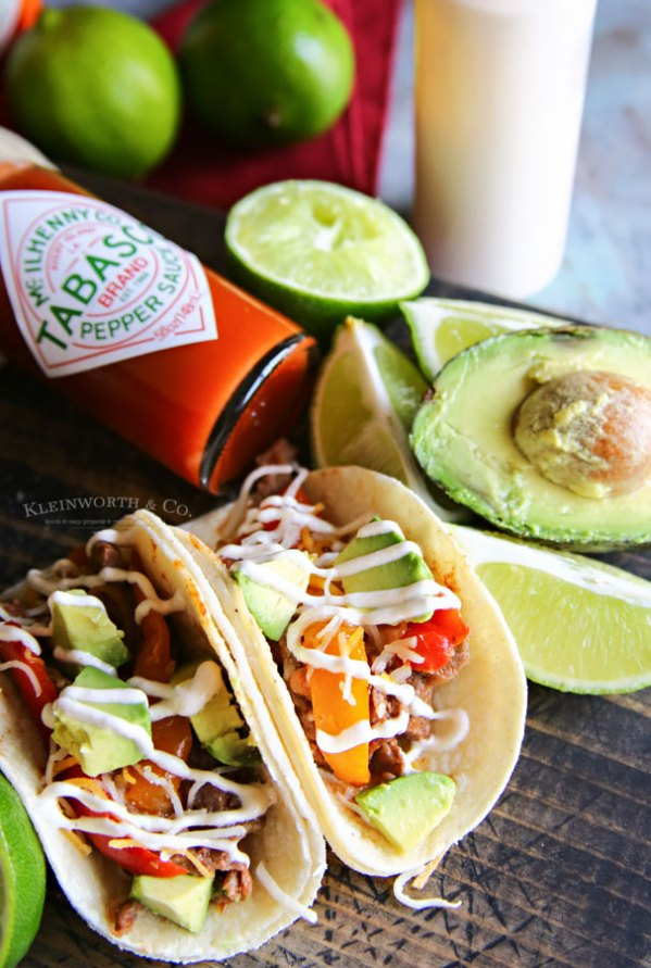 Slow Cooker Beef Tacos with TABASCO® Sauce Crema From Kleinworth & Co.