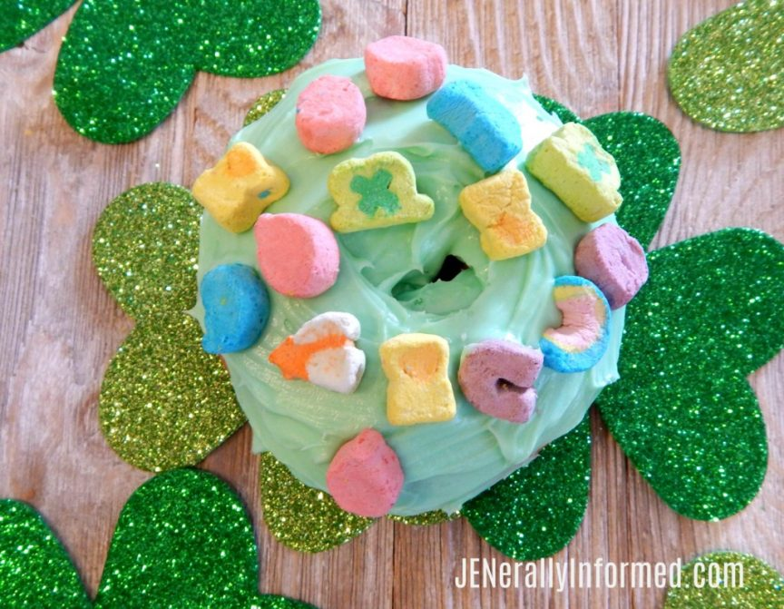 Easily bring the luck of the Irish into your home with these delicious 3 step St. Ptarick's Day donuts!