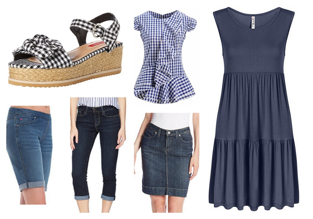 Summer 2018 on trend items. New takes on old favorrites. Gingham and denim!