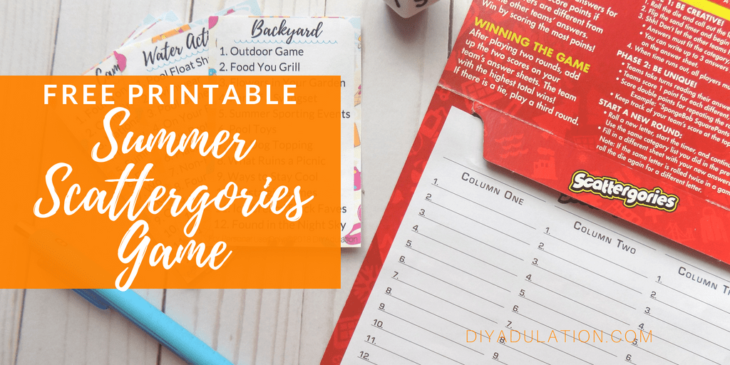 Free Printable Summer Scattergories Game from DIY Adulation.