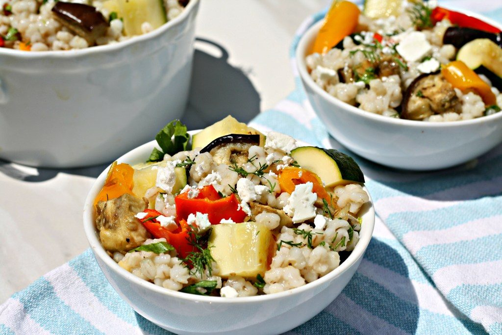 Summer Vegetable Barley Salad from Looney For Food.