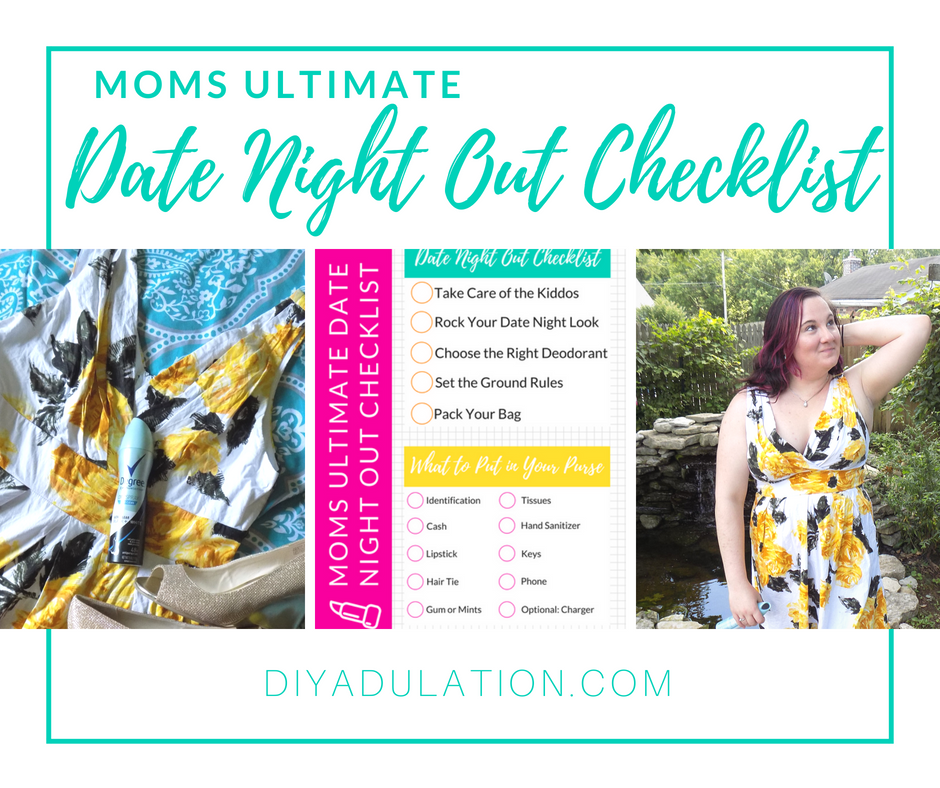 Moms Ultimate Date Night Out Checklist + Free Printable from DIY Adulation.
