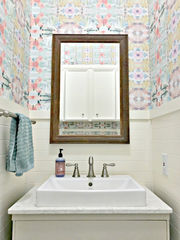 Colorful Small Modern Farmhouse Powder Room from Abbotts At Home.