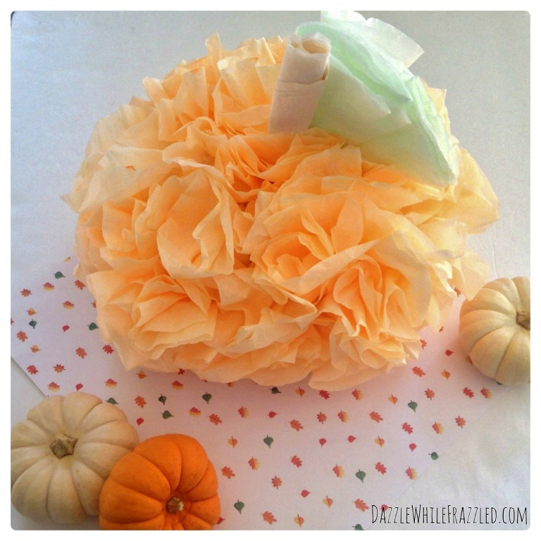 How To Make a $2 Pumpkin From Coffee Filters from Dazzled While Frazzled.