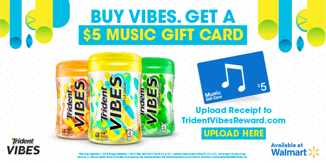 Buy Vibes. Get a $5 music card. #TridentVibes #CollectiveBias #ad