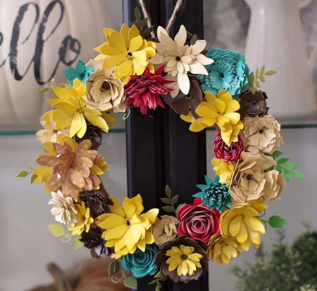How to Make a Paper Flower Wreath for Fall with Gemini Die Cutting Machine from Create & Babble.
