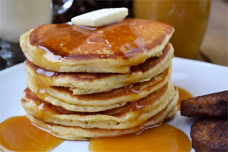 Christmas Pancakes with a Simple Eggnog Syrup from Fluster Buster.