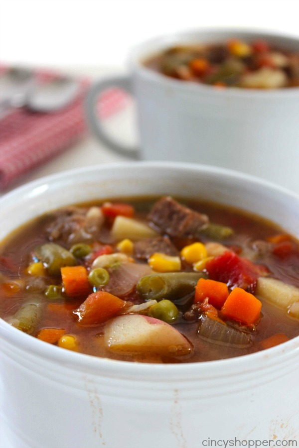 Slow Cooker Vegetable Beef Soup!