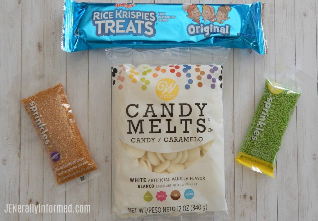 """Learn how to make super easy """"Golden"""" Leprechaun Rice Krispie treats just in time for St Patrick's day!"""