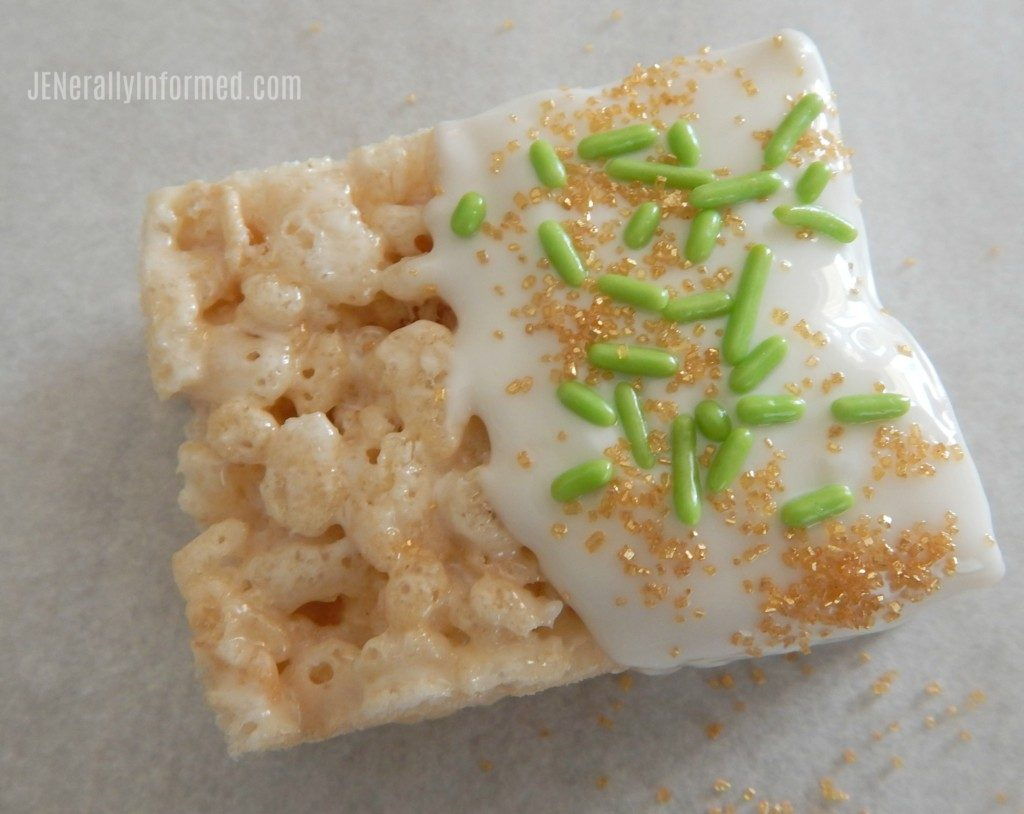 "Learn how to make super easy ""Golden"" Leprechaun Rice Krispie treats just in time for St Patrick's day!"