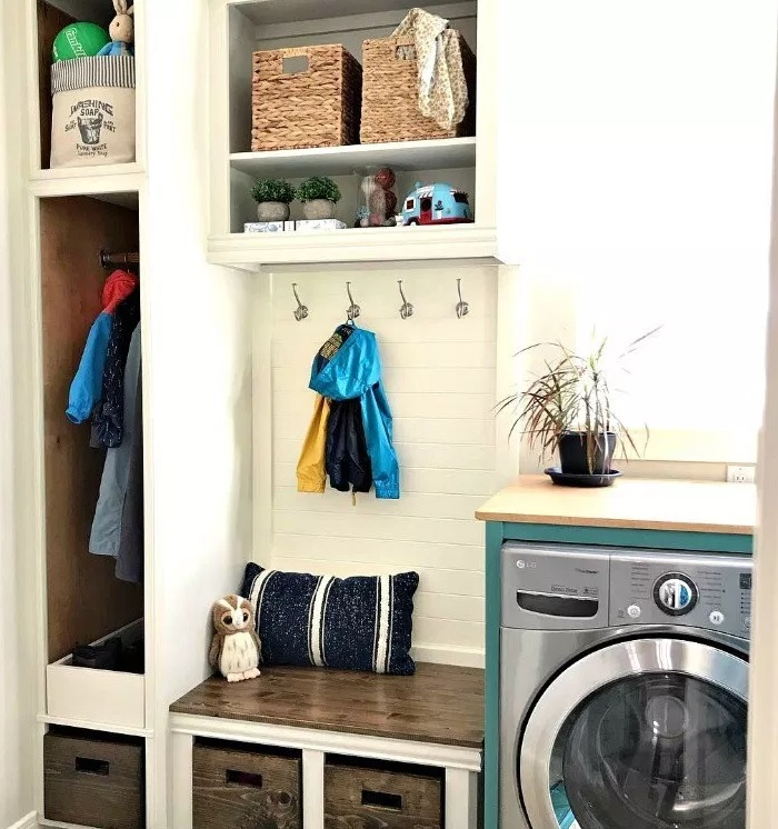 How I Added a Mudroom to our Laundry Room from Abbotts At Home.