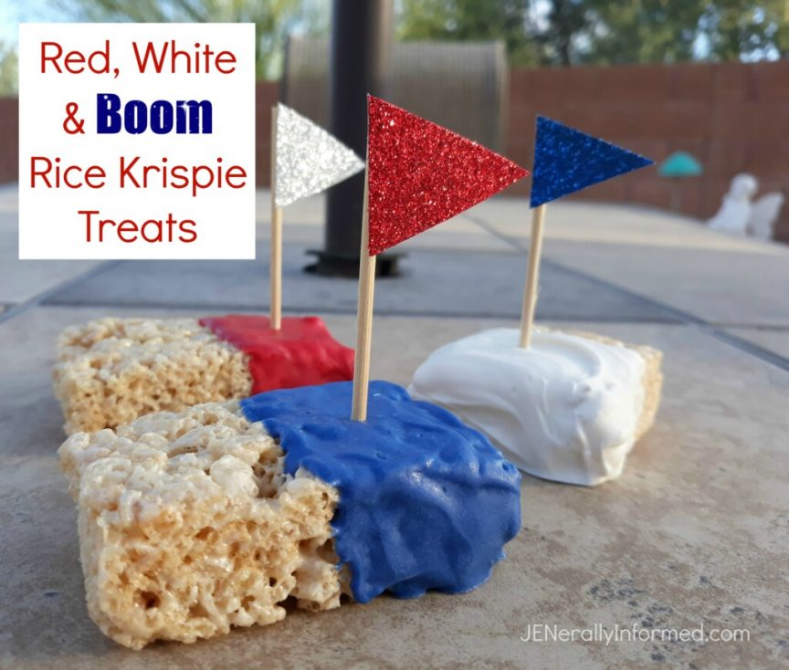 "Celebrate #MemorialDay with these super easy to make Red, White and BOOM Rice Krispie Treats!"" #cooking #desserts"