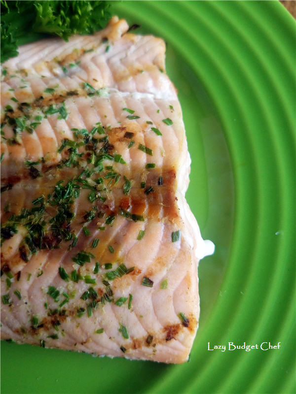 Grilled Garlic Salmon Recipe from the Lazy Chef.