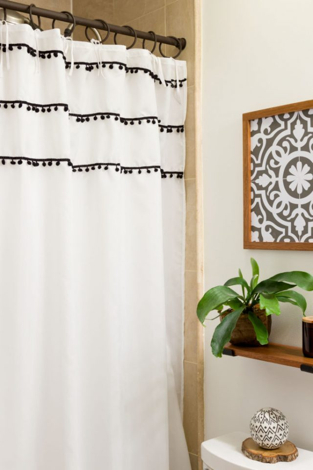 DIY Shower Curtain Ties – Boho Modern Bathroom from Kippi at Home.