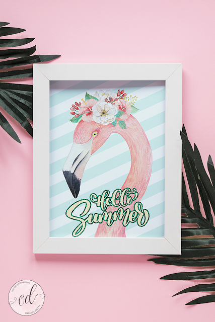 Free Flamingo Hello Summer Printable from Make Life Pretty.