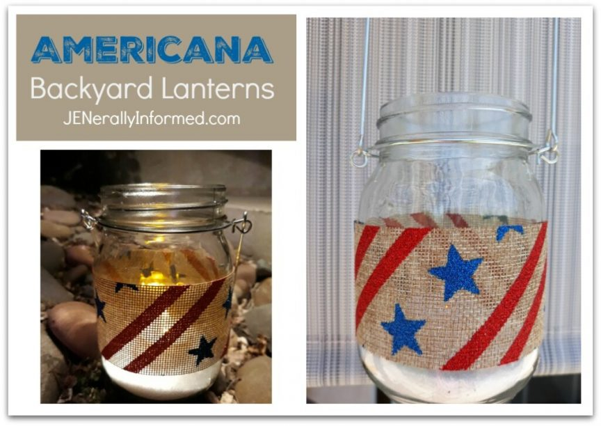 Take advantage of summer evenings and make these DIY #Americana outdoor hanging lanterns! #easycrafting #interiordesign