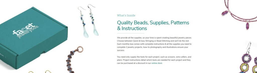 Everything you need to create beautiful jewelry. Try the Facet Box for 50% off today! Plus a giveaway!