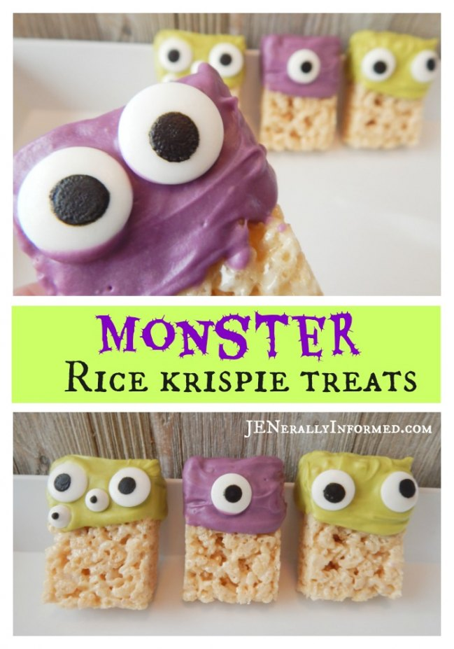 Whip up a batch of these Monster Rice Krispie Treats to make all of your little ghouls and goblins squeal with delight!