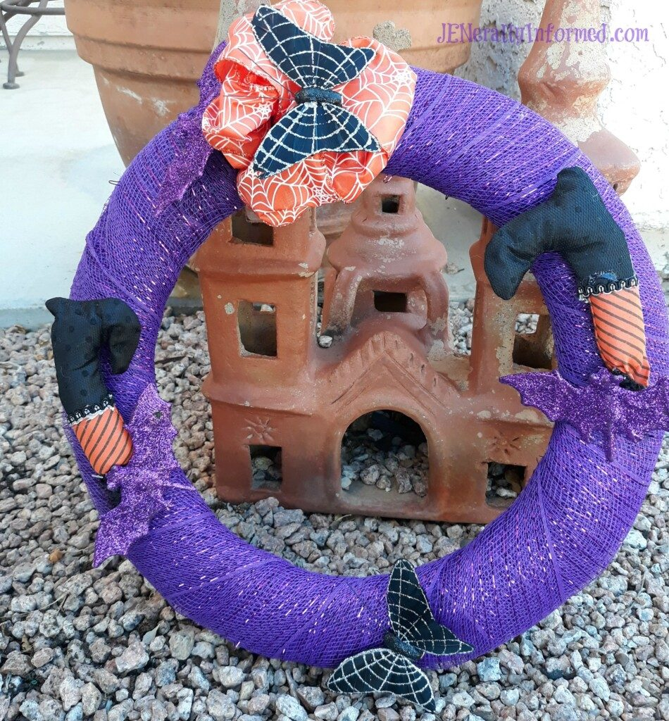 Halloween DIY decor on the cheap! Learn how to make this cute #halloween wreath for only 6 dollars!""