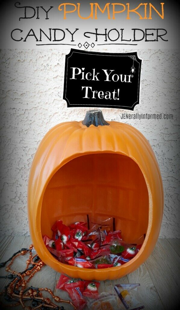 Make this adorable DIY Pumpkin candy holder full of treats for all your #Halloween ghosts and ghouls!