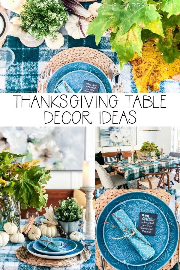 Thanksgiving Table Decor Ideas (with Free Printable Thanksgiving Conversation Starters) from the Happy Housie.