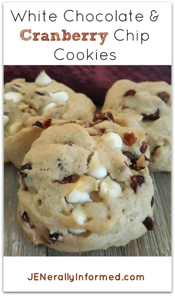 Try these perfect for Fall White Chocolate and Cranberry Chip Cookies! #cooking #baking #desserts