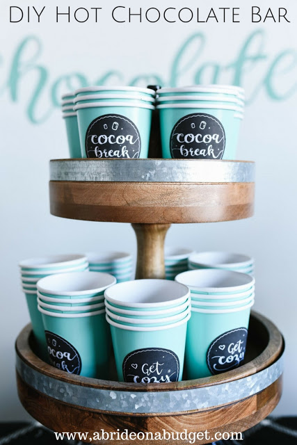 DIY Hot Chocolate Bar from A Bride on a Budget.